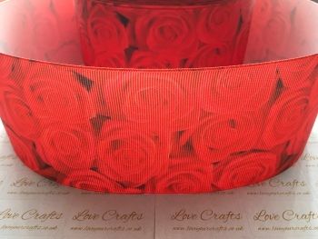 Poppy Red Rose Grosgrain Ribbon