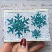 Aqua Glitter Snowflake Vinyl - design 2 - set of 3