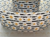 Daisies on Black & White Grosgrain Ribbon