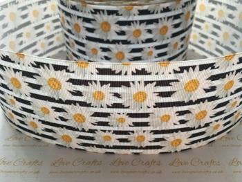 Daisies on Black & White Grosgrain Ribbon
