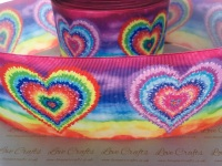 New Rainbow Hearts Grosgrain Ribbon