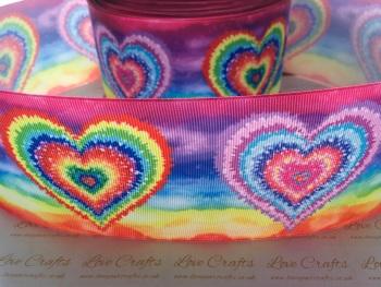 New Rainbow Hearts Grosgrain Ribbon
