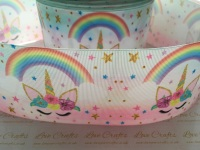 New Sleepy Rainbow Unicorn Grosgrain Ribbon