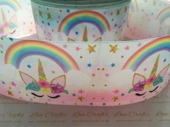 New Sleepy Rainbow Unicorn Grosgrain Ribbon