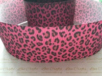 Pink Leopard Print Grosgrain Ribbon