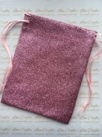 Dark Pink Glitter Fabric Drawstring Gift Bag