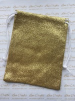 Gold Glitter Fabric Drawstring Gift Bag