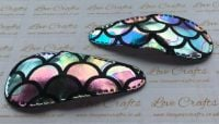 Pair of Large Mermaid Scale Snap Clips - Rainbow