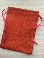 Red Glitter Fabric Drawstring Gift Bag