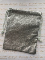 Silver Glitter Fabric Drawstring Gift Bag