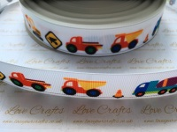 "1"" Construction Vehicles Grosgrain Ribbon"