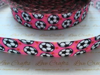 "1"" Footballs on Pink Grosgrain Ribbon"