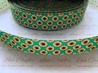 "1"" Sunflowers on Green Grosgrain Ribbon"