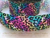 Multi Leopard Print Grosgrain Ribbon
