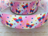 Rainbow Butterfly Ombre Grosgrain Ribbon