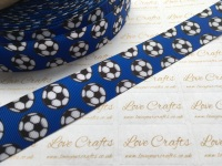 "1"" Footballs on Electric Blue Grosgrain Ribbon"