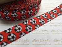 "1"" Footballs on Poppy Red Grosgrain Ribbon"