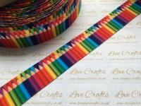 "1"" Pencils Grosgrain Ribbon"