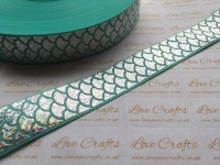 "1"" Silver Laser Mermaid Scale on Aqua Grosgrain Ribbon"