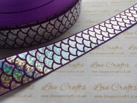 "1"" Silver Laser Mermaid Scale on Purple Grosgrain Ribbon"