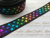 "1"" Rainbow Laser Stars on Black Grosgrain Ribbon"