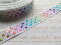 "1"" Rainbow Laser Stars on White Grosgrain Ribbon"