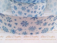 Blue Snowflakes Grosgrain Ribbon