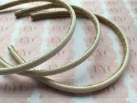 Ivory Glitter Headband with Gold Trim Lining