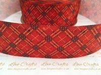 Red & Gold Tartan Grosgrain Ribbon