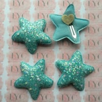 Pair of Glitter Snap Clips - Aqua Star