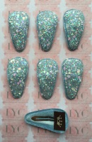 Pair of Glitter Snap Clips - Light Blue