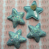 Pair of Glitter Snap Clips - Light Blue Star