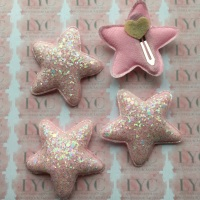 Pair of Glitter Snap Clips - Light Pink Star