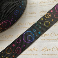 "1"" Rainbow Circles & Stars on Black Grosgrain Ribbon"