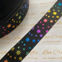 "1"" Rainbow Stars on Black Grosgrain Ribbon"