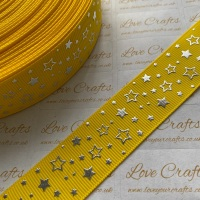 "1"" Silver Laser Stars on Daffodil Grosgrain Ribbon"