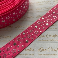 "1"" Silver Laser Stars on Hot Pink Grosgrain Ribbon"