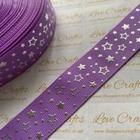 "1"" Silver Laser Stars on Hyacinth Grosgrain Ribbon"