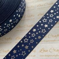 "1"" Silver Laser Stars on Navy Grosgrain Ribbon"