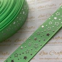 "1"" Silver Laser Stars on Mint Grosgrain Ribbon"
