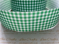 Fern Green Gingham Check Grosgrain Ribbon