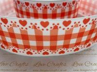 Autumn Orange Check & Hearts Grosgrain Ribbon