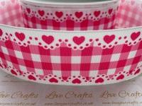 Camelia Rose Check & Hearts Grosgrain Ribbon