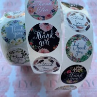 Roll of Thank You Stickers -  design 7