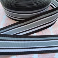 "1.5"" Black/Grey/White Stripe Double Sided Grosgrain Ribbon"