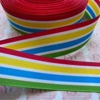 "1.5"" Colourful Stripes Double Sided Grosgrain Ribbon"