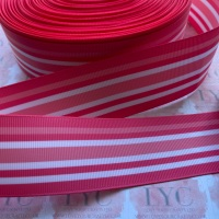 "1.5"" Pink & White Double Sided Grosgrain Ribbon"