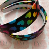 32mm Rainbow Hearts on Black Headband