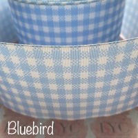 Bluebird New Gingham Check Grosgrain Ribbon