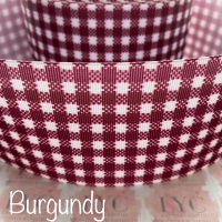 Burgundy New Gingham Check Grosgrain Ribbon